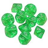 Febbya Dados Poliédricos,D10 Dados de Juego de Colores Dobles para DND MTG RPG Dungeons y Dragons Pathfinder Role Playing Dice Verde