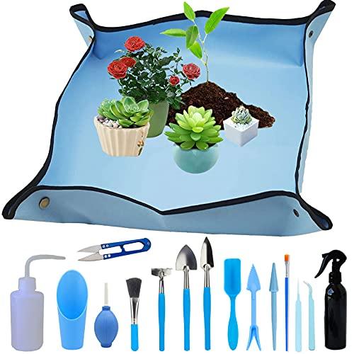 Waterproof Garden Mat Plant Mat, Transplanting Plant Mat, Succulent Garden Tool Set, Mini Garden Tools, for Potting, Succulents, Seedling, 16 Pieces (Blue 50 x 50)