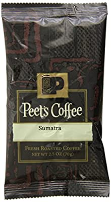 Peet's Coffee, Sumatra, Ground Coffee, 2.5 oz. Fractional Packs (18 count), Single-Origin Coffee, Earthy, Complex, & Hefty Classic Blend of Indonesian Coffee, with a Syrup-like Body & Herbal Notes