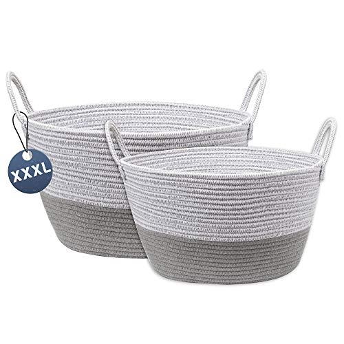 Juego de 2 cestas de algodón para la colada, cesta de almacenamiento con asas, cesta de lavandería, cesta para juguetes, zapatos, mantas de baño, toallas, cojines, sala de estar, lavandería