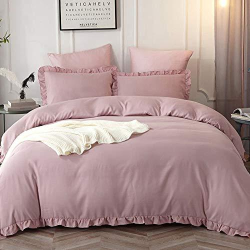 Lanqinglv Rüschen Rosa Bettwäsche 155x200 2 Teilig Mädchen Mikrofaser Bettbezug Deckenbezug mit Reißverschluss mit Kopfkissenbezüge 80x80