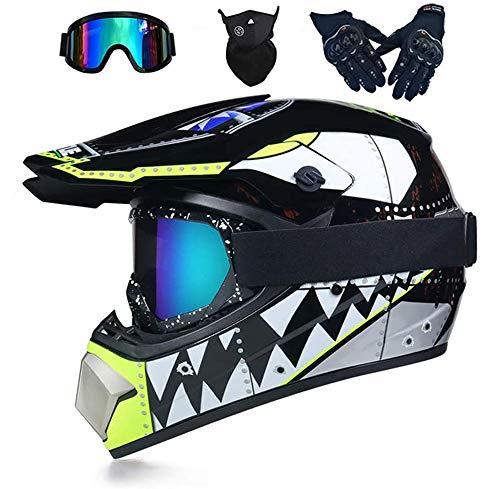 LEENY Casco de Motocross, Cascos de Cross de Moto Set con Gafas/Máscara/Guantes,...