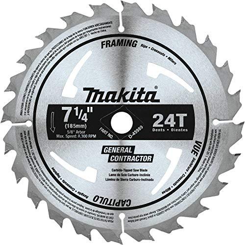Makita D-45989 7-1/4' 24T Hoja de sierra circular con punta de carburo, enmarque/propósito general