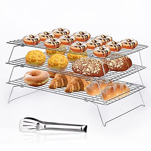 Aokyom 3 Griglia Raffreddamento Impilabile Griglie di Raffreddamento Rack di Raffreddamento in Acciaio Inox per Torte, Dolci, Biscotti e Raffreddamento di Torte, 34 x 24 cm
