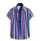 Casuales Camisas Hombre Moda Color Rayas Hombre Playa Shirt Verano Botón Placket Holgada Manga Corta Camping Hombre Hawaii Camisa YC08 M