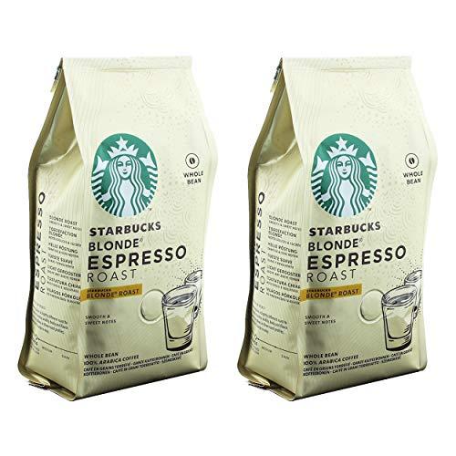 Starbucks Blonde Espresso Kaffee, 2er Set, Blonde Roast, Röstkaffee, Samtig und Süß, Ganze Bohnen, 2 x 200 g