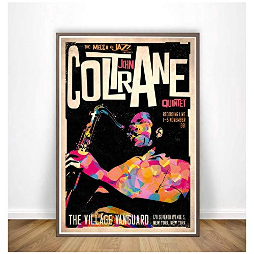 John Coltrane Retro-Stil Poster und Drucke Leinwand Malerei Kunst Wand Wohnkultur-60x90cm ohne Rahmen