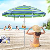 Deyard 6.5ft Beach Umbrella with Sand Anchor, Tilt Aluminum Pole, Portable UV 50+ UPF 100+ Windproof Protection Large Heavy Duty Beach Umbrella with Carrying Bag for Sand and Outdoor
