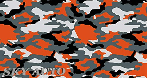 """Sky Auto INC Yellow-Orange Black White Gray Camouflage Vinyl Car Wrap Film Sheet + Free Cutter & Squeegee (Except Sample Size) (40FT x 5FT / 480"""" x 60"""")"""