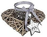 dekojohnson Portavelas de mimbre, corazón de ratán con cristal, rústico, portavelas para el Día de la Madre, 29 x 29 x 14 cm, estilo rústico