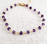 Amethyst Bracelet - Gemstone Jewelry - Wire Wrapped Rosary Chain - 14k Gold Filled - Gift for Her