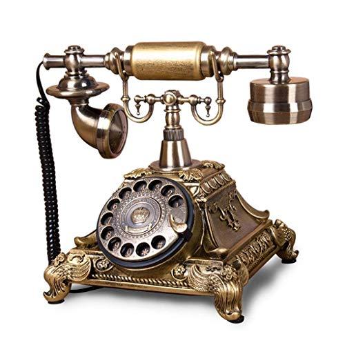 DFBGL Teléfono Vintage/teléfono Retro con Cuerpo de Madera y Metal, dial Giratorio Funcional Características de la línea Fija de Estilo clásico de Campana Botón pulsador de Anillo trad