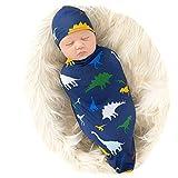 Galabloomer Newborn Swaddle Blanket with Beanie Set Baby Boy Receiving Blanket (Navy Blue Dino)