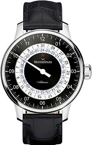 Meistersinger Adhaesio AD902 - Reloj de Pulsera para Hombre, con Esfera Negra analógica y Cristal de Zafiro y Correa de Piel Negra, Hecho en Suiza