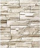 HaokHome 13991-3M Papel Tapiz Adhesivo Piedra de Imitación Apilada, Ladrillo Papel Pintado de Color Taupe/Cyan, Papel de Contacto Prepintado 17.7'x 9.8ft