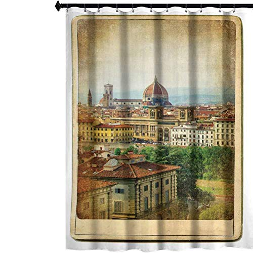 Aishare Store Shower Curtain, European Landmarks Series Vintage Card Florence, Cloth Fabric Bathroom Decor Set with Hooks, 69
