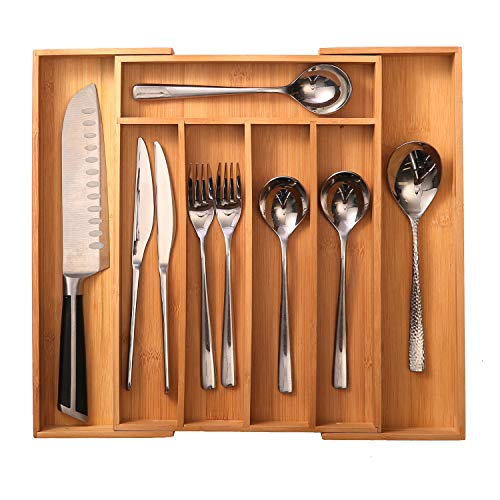 oridom Bamboo Expandable Drawer Organizer-Expandable Silverware Organizer/Utensil Holder and Cutlery Tray with...