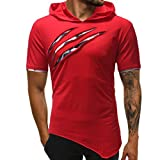 GREFER Men's Tee Fashion Personality Pure Color Hoodie Sport Short Sleeve Shirt Tops (2XL, Red -Short Sleeve)