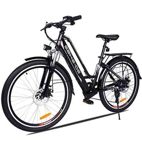 Vivi Bicicletta elettrica da 250 W Mountain Bike elettrica per Adulti, Bicicletta elettrica da 26'15Mph con Batteria agli ioni di Litio 8AH, Cambio Professionale a 7 velocità (Black)