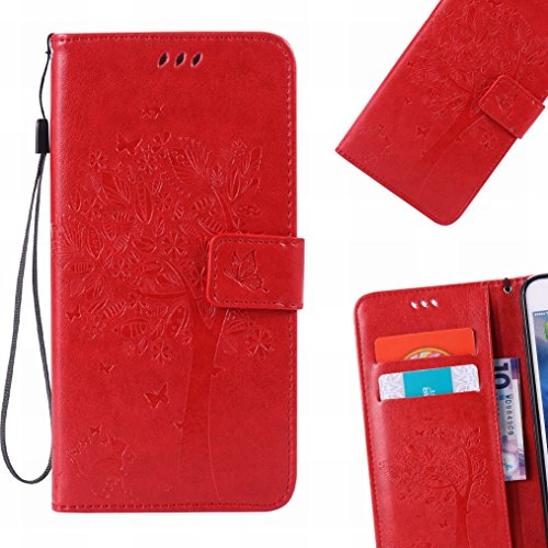 LEMORRY Hülle für Sony Xperia M5 Hülle Tasche Geprägter Ledertasche Beutel Schutz Magnetisch Schließung SchutzHülle Weich Silikon Cover Schale für Sony M5 (E5603,E5606,E5653), Glücklicher Baum Rot