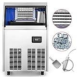 BuoQua 50kg Kommerzielle Eismaschine 220V Eiswürfelbereiter Kommerzielle Eiswürfelbereiter Edelstahl