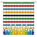 Cortina de ducha impresa en 3D Cortina de ducha de rayas de colores Simple elegante multitud de vítores colores del arco iris decoración de baño cortina de ducha de tela impermeable 180 x 180 cm