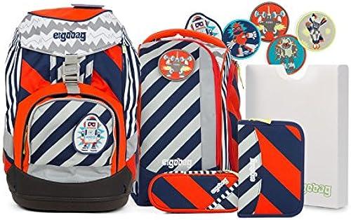 Ergobag Special Edition Stripes Schulrucksack-Set Pack 7-tlg B -D2 925 Orange blaue streifen