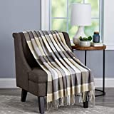 """Bedford Home Stone Oversized Vintage Look Woven Acrylic Faux Cashmere-Feel Plaid Throw – Breathable and Machine Washable, 70"""" L x 60"""