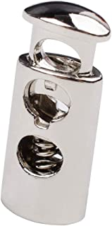 iHYAO Double Hole Cord Lock End Spring Stop Toggle Stoppers, Metal Cord Locks (Silver,6 PCS)