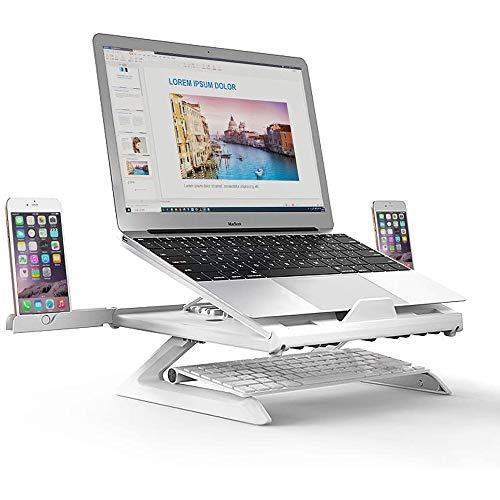 VIVICF Laptop Stand, Ergonomic Notebook Riser Desk 9-Level Adjustable with Foldable Legs, Phone Holders and Cooling Design for Macbook, Tablet, Book, Computer/Desktop Monitor,White