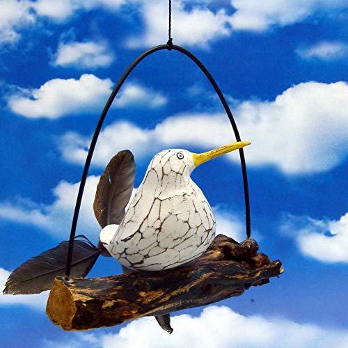 Pommerntraum ® | Windspiel maritim - Gartendeko - Mobile - Flattermöwe - Flattervogel - Möwe mit Federn auf AST