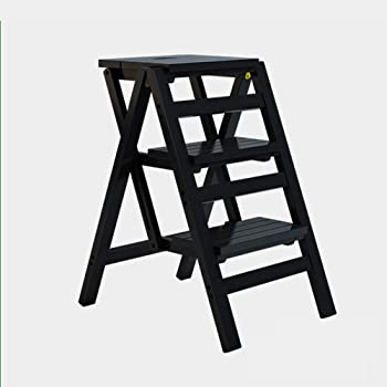 WCS Escalera multifunción Taburete Hogar Madera maciza IKEA Niños Silla plegable Provincia Espacio Escalera de cuatro pasos de doble uso Ascendente Escalera Color 42 × 55 × 68 cm (Color : Black): Amazon.es: Bricolaje y herramientas