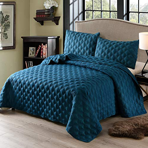 Exclusivo Mezcla 3-Piece King Size Quilt Set with Pillow Shams, as Bedspread/Coverlet/Bed Cover(Ellipse Blue) - Soft, Lightweight, Reversible and Hypoallergenic