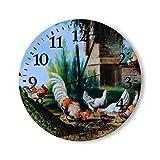 Relojes de Pared de Madera Pavos Reales y Pollos Relojes Simples Tiempo para Cocina Oficina Sala de Estar Dormitorio Reloj de Pared Redondo de Madera