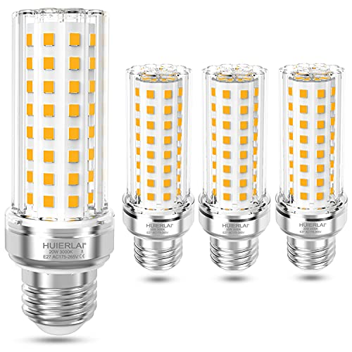 HUIERLAI E27 LED Lampe, 20W 3000K Warmweiß 2100 lumen, A+ LED E27 Maiskolben Birne, Ersatz für 100W 120W 150W Glühbirnen, LED Mais Lampe, Birnen Leuchtmittel E27 Nicht Dimmbar, 4er Pack