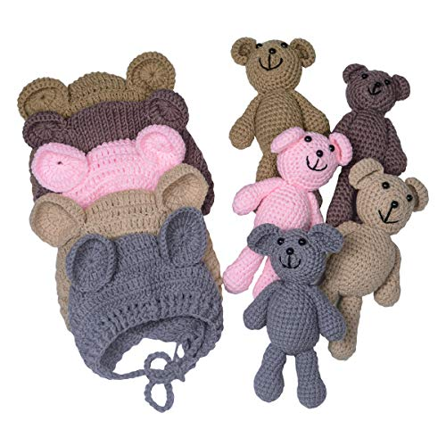 EUDORA Crochet Newborn Photography Boys/Girls Knit Toy Bear Hats, Infant Baby Photo Prop Costume Gray