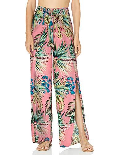 La Blanca Women's Tie Front Side Slit Pant Swim Cover-up, Coral//Tropical rain, X-Large