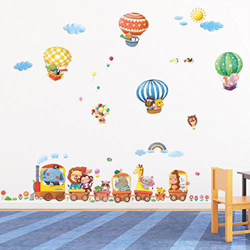 DECOWALL DA-1406 Animal Train and Hot Air Balloons Kids Wall Stickers Wall Decals Peel and Stick Removable Wall Stickers for Kids Nursery Bedroom Living Room décor