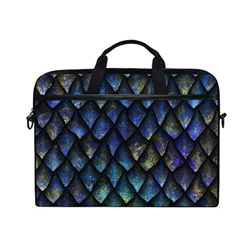 Laptop Sleeve Case,Laptop Bag,Blue Dragon Scale Pattern Water Briefcase Messenger Notebook Computer Bag with Shoulder Strap Handle,28.5×38 CM/14 Inch