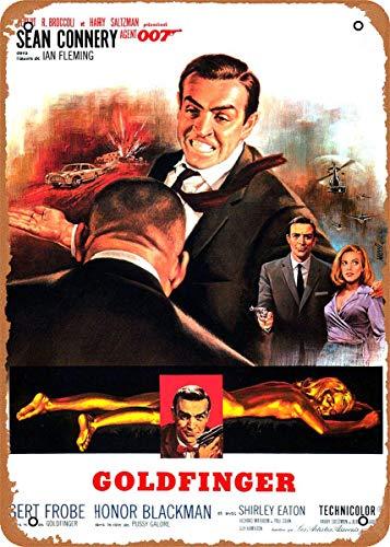 Sexdety Vintage Metallo Sign James Bond 007 Goldfinger Movie Posters - Inches Tin Sign Targa di Metallo Poster for Home Bar Pub Garage Decor GiftsMetallo Tin Sign Targa di Metallo Poster 8x12in A1038