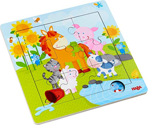 HABA 303767 - Holzrahmen-Puzzle Tierfreunde, 9-teiliges Holzpuzzle mit Tiermotiven, Holzspielzeug ab 18 Monaten