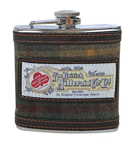 Herren Edelstahl, 170ml gemustert Flachmann in Geschenkbox in 4Ausführungen inkl. Harris Tweed, stahl, Vintage Brown 7036, 6 oz