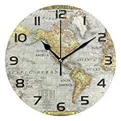 One Bear Vintage World Map Round Wall Clock Silent Non Ticking, Retro Arabic Numerals Design Clock for Home,Office,School Art Decorative