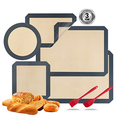 Silicone Baking Mats Set of 7 Non-stick Pastry Mat Reusable Professional Food Grade Oven Liner Sheets Mats Rolling Mats Square Cake Pan Mat Silicone Oil Brush &Knife Macaron, Pastry, Cookie, Pizza