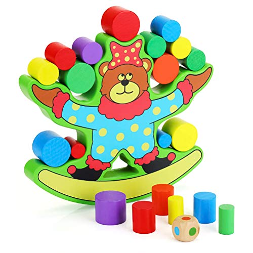 Suszian Bloques de Madera, Bear Balance Building Blocks Tumbling Timbers Juego clásico de apilamiento de Bloques para niños Juegos de Patio Familiar