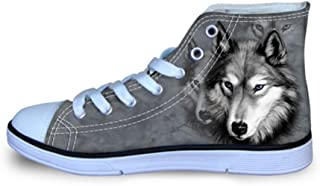 Showudesigns Cool 3D Animal Design Soft Women's Lightweight High Top Canvas Shoes