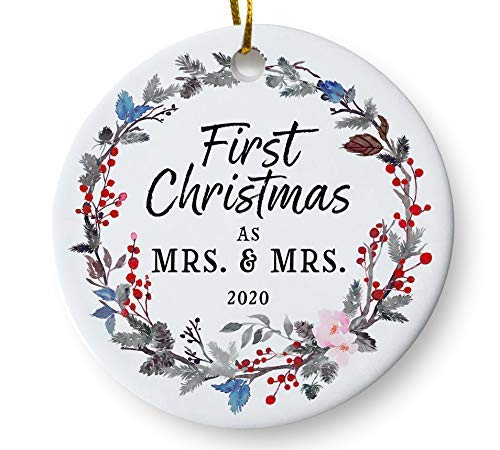 First Christmas as Mrs and Mrs 2020 Lesbian Couple Wedding Christmas Ornament, Same Sex Newlywed Present, Floral Wreath 3' Flat Ceramic Ornament with Gift Box