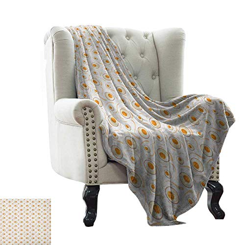 BelleAckerman Soft Cozy Throw Blanket Egg,Breakfast Food Pattern with Fried Eggs Healthy Protein Omelets Morning Meal, Marigold Peach Cream Super Soft and Warm,Durable Throw Blanket 35'x60'