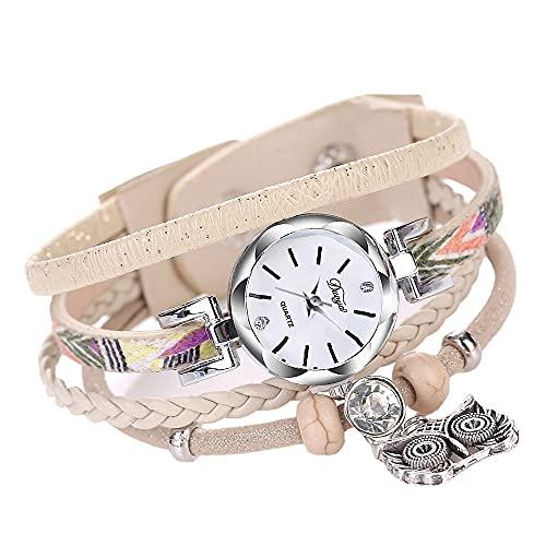 FHK Pulseras con búho, relojes de cuarzo, pulseras de piel trenzada multicolor, pulseras con colgante de búho, relojes de mujer., cuero,