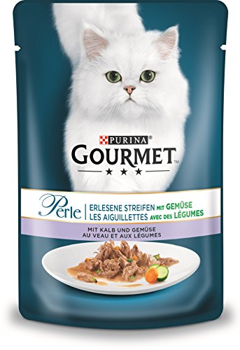 PURINA GOURMET Perle Erlesene Streifen mit Gemüse Katzenfutter nass, mit Kalb und Gemüse, 24er Pack (24 x 85g)